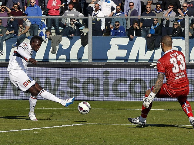 M'Baye Niang of Genoa CFC scores the opening goal during the Serie A match between Empoli FC and Genoa CFC at Stadio Carlo Castellani on March 8, 2015