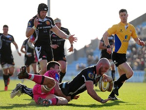 Jack Yeandle of Exeter Chiefs dives over for a try during the Aviva Premiership match between Exeter Chiefs and London Welsh at Sandy Park on March 7, 2015