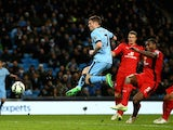 James Milner of Manchester City wcores his team's second goal during the Barclays Premier League match against Leicester City on March 4, 2015