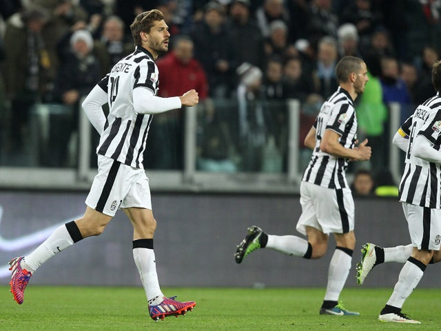 Juventus' Spanish forward Fernando Llorente celebrates after scoring a goal during the Italian Tim cup football match Juventus Vs Fiorentina on March 5, 2015