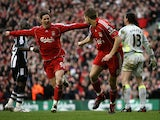 Steven Gerrard of Liverpool after scoring the third goal looks to team mate Fernando Torres who scored the second gaol in the first half during the Barclays Premier League match between Liverpool and Newcastle United at Anfield on March 8, 2008