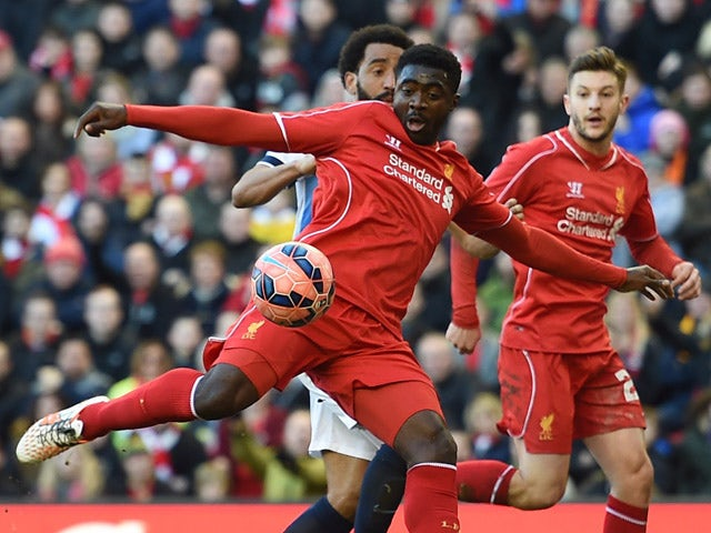 Liverpool's Ivorian defender Kolo Toure aims to score a goal during FA Cup quarter-final match between Liverpool and Blackburn Rovers at Anfield in Liverpool, north west England on March 8, 2015