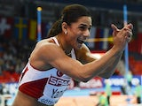 Turkey's Nevin Yanit celebrates wining the final of the women's 60m Hurdles at the European Indoor athletics Championships in Gothenburg, Sweden, on March 1, 2013