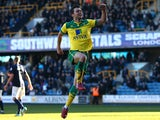 Norwich's Jonathan Howson celebrates after he scores the teams fourth goal of the game during the Sky Bet Championship match between Millwall and Norwich City at The Den on March 07, 2015