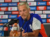 England coach Peter Moores talks to the media during a press conference at Adelaide Oval on March 8, 2015