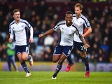 Saido Berahino of West Brom celebrates scoring their first goal during the Barclays Premier League match against Aston Villa on March 3, 2015
