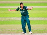 Samit Patel of Nottinghamshire appeals in vain for a wicket during the Royal London One-Day Cup Quarter Final match between Nottinghamshire Outlaws and Derbyshire at Trent Bridge on August 26, 2014