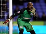 Ali Al Habsi of Wigan shouts instructions during the Sky Bet Championship match between Reading and Wigan Athletic at Madejski Stadium on February 17, 2015