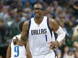 Amar'e Stoudemire #1 of the Dallas Mavericks reacts after scoring against the New Orleans Pelicans at American Airlines Center on March 2, 2015