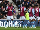 Christian Benteke of Aston Villa celebrates scoring the opening goal during the Barclays Premier League match between Sunderland and Aston Villa at Stadium of Light on March 14, 2015