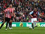 Gabriel Agbonlahor of Aston Villa scores their third goal during the Barclays Premier League match between Sunderland and Aston Villa at Stadium of Light on March 14, 2015