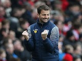 Aston Villas English Manager Tim Sherwood celebrates his team's opening goal during the English Premier League football match between Sunderland and Aston Villa at the Stadium of Light in Sunderland, northeast England on March 14, 2015