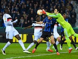 Besiktas' goalkeeper Cenk Gonen saves his goal during in the UEFA Europa League round of 16 match between Club Brugge KV and Besiktas JK in Bruges on March 12, 2015