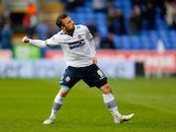 Adam Le Fondre of Bolton celebrates after scoring his second goal during the Sky Bet Championship match between Bolton Wanderers and Millwall at the Macron Stadium on March 14, 2015
