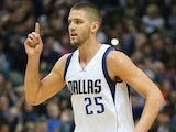 Chandler Parsons #25 of the Dallas Mavericks reacts after being fouled against the Washington Wizards at American Airlines Center on December 30, 2014