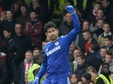 Chelsea's Brazilian-born Spanish striker Diego Costa celebrates scoring the opening goal during the English Premier League football match between Chelsea and Southampton at Stamford Bridge in London on March 15, 2015