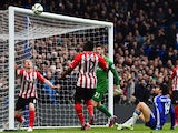 Southampton's Northern Irish midfielder Steven Davis watches as Chelsea's Brazilian-born Spanish striker Diego Costa's effort comes back off the post during the English Premier League football match between Chelsea and Southampton at Stamford Bridge in Lo