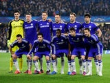 The Chelsea team pose for the cameras prior to kickoff during the UEFA Champions League Round of 16, second leg match between Chelsea and Paris Saint-Germain at Stamford Bridge on March 11, 2015