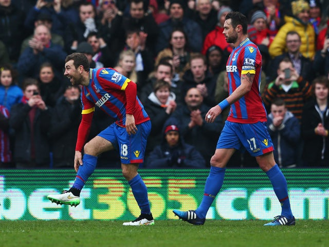 James McArthur of Crystal Palace celebrates scoring his team's second goal during the Barclays Premier League match between Crystal Palace and Queens Park Rangers at Selhurst Park on March 14, 2015