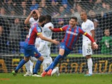 Joel Ward of Crystal Palace celebrates scoring his team's third goal with Joe Ledley during the Barclays Premier League match between Crystal Palace and Queens Park Rangers at Selhurst Park on March 14, 2015