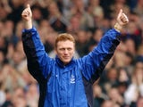 Everton manager David Moyes celebrates during the FA Barclaycard Premiership match between Everton and Fulham played at Goodison Park, in Liverpool, England on March 16, 2002