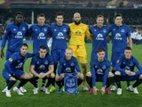 The Everton team pose for the cameras prior to kickoff during the UEFA Europa League Round of 16, first leg match between Everton and FC Dynamo Kyiv at Goodison Park on March 12, 2015