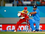 Suresh Raina of India bats during the 2015 ICC Cricket World Cup match between India and Zimbabwe at Eden Park on March 14, 2015