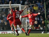 Juninho of Middlesbrough celebrates scoring the second goal of the match during the FA Barclaycard Premiership match between Leeds United and Middlesbrough held on March 15, 2003