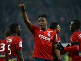 Lille's Belgian forward Divock Origi celebrates after scoring a goal during the French L1 football match between Lille (LOSC) and Rennes (SRFC) on March 15, 2015