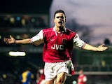 Marc Overmars of Arsenal celebrates a goal during the FA Carling Premiership match against Leeds United at Highbury in London on January 10, 1998