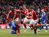 Albert Adomah of Middlesbrough celebrates scoring his side's second goal during the Sky Bet Championship match between Middlesbrough and Ipswich Town at the Riverside Stadium on March 14, 2015