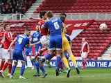 Daniel Ayala of Middlesbrough scores the opening goal during the Sky Bet Championship match between Middlesbrough and Ipswich Town at the Riverside Stadium on March 14, 2015