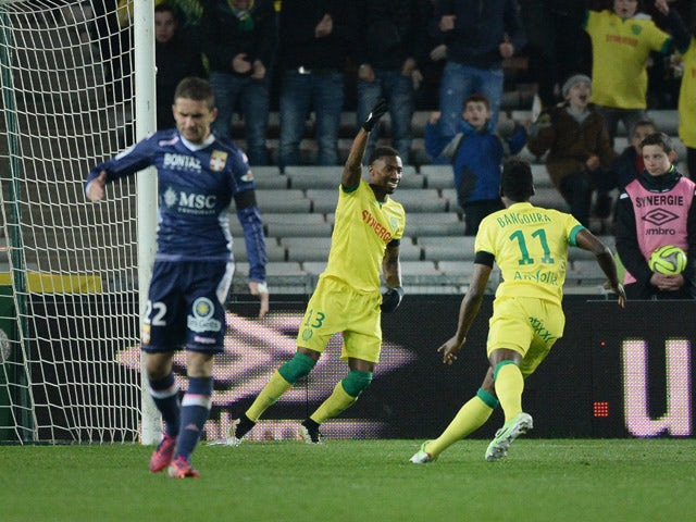Nantes' Togolese forward Serge Gakpe celebrates after scoring a goal during the French L1 football match between Nantes and Evian-Thonon-Gaillard (ETG) on March 14, 2015