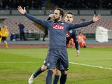 Gonzalo Higuain of Napoli celebrates after scoring goal 2-1 during the UEFA Europa League Round of 16 football match between SSC Napoli and FC Dinamo Moskva at the San Paolo Stadium on March 12, 2015