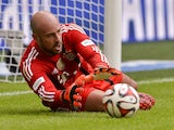 Bayern Munich's Spanish goalkeeper Pepe Reina takes part in an official training session of German first division Bundesliga football club Bayern Munich at the Allianz Arena stadium in Munich, southern Germany, on August 9, 2014