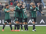 Nicola Sansone of Sassuolo scores the goal 2-1 during the Serie A match between US Sassuolo Calcio and Parma FC at Mapei Stadium on March 15, 2015
