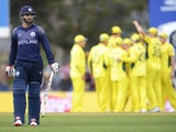 Preston Mommsen of Scotland leaves the field after being dismissed by Shane Watson of Australia during the 2015 Cricket World Cup match between Australia and Scotland at Bellerive Oval on March 14, 2015