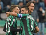 Simone Missiroli of Sassuolo celebrates after scoring the goal 4-1 during the Serie A match against Parma on March 15, 2015