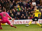 Matej Vydra of Watford scores the 2nd Watford goal during the Sky Bet Championship match between Watford and Reading at Vicarage Road on March 14, 2015