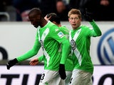 Wolfsburg's Belgian midfielder Kevin De Bruyne celebrates after scoring his team's opening goal during the German first division Bundesliga football match VfL Wolfsburg v SC Freiburg in Wolfsburg, Germany, on March 15, 2015