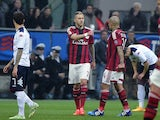 AC Milan's midfielder from France Jeremy Menez reacts after scoring during the Italian Serie A football match AC Milan vs Cagliari on March 21, 2015