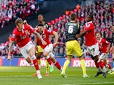Aden Flint of Bristol City reacts after scoring during the Johnstone's Paint Trophy Final between Bristol City and Walsall at Wembley Stadium on March 22, 2015