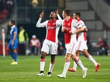 Riechedly Bazoer of Ajax celebrates after scoring a goal to level the scores at 1-1 on aggregate during the UEFA Europa League Round of 16, second leg match between AFC Ajax v FC Dnipro Dnipropetrovsk at Amsterdam Arena on March 19, 2015