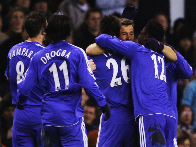 Andrei Shevchenko (2nd right) of Chelsea celebrates with team mates after scoring the opening goal during the FA Cup sponsored by E.ON Quarter Final replay match against Tottenham on March 19, 2007
