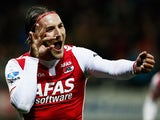 Nemanja Gudelj of AZ celebrates scoring the first goal of the game from the penalty spot during the Dutch Eredivisie match between AZ Alkmaar and SC Cambuur held at the AFAS Stadion on March 21, 2015