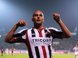 Ben Sahar of Willem II celebrates scoring the first goal of the game during the Dutch Eredivisie match between Willem II Tilburg and NAC Breda at Koning Willem II Stadium on September 19, 2014