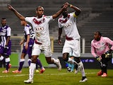 Bordeaux's Uruguyan forward Diego Rolan celebrates after scoring a goal during the French L1 football match between Toulouse and Bordeaux March 21, 2015