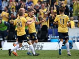 Mariners team mates celebrate a goal by Nick Montgomery during the round 22 A-League match between the Central Coast Mariners and the Perth Glory at Central Coast Stadium on March 22, 2015