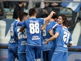 Empoli FC players celebrate a goal scored by Riccardo Saponara during the Serie A match between Empoli FC and US Sassuolo Calcio at Stadio Carlo Castellani on March 22, 2015