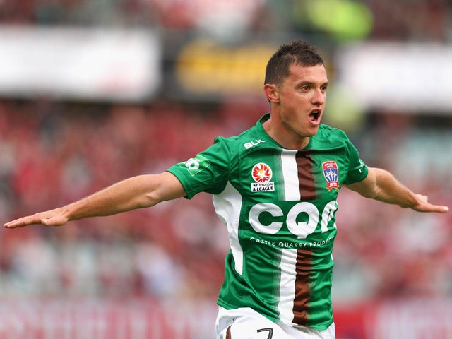 Enver Alivodic of the Jets celebrates scoring a goal during the round 22 A-League match between the Western Sydney Wanderers and the Newcastle Jets at Pirtek Stadium on March 21, 2015